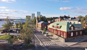 Flygbild över Umeå med utsikt över Arschanska villan